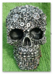 "<img src=Metallic Skulls.jpg"" alt=""Metallic Skull Finished in Black and Silver With Detailed Nut and Bolt Design"">"
