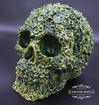 "<img src=Skull Gift.jpg"" alt=""Skull Ornament Finished in Camo Greens Featuring Nut and Bolt Design"">"