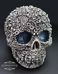 "<img src=Skull Gift.jpg"" alt=""Skull Ornament Finished in Silver & Black Featuring Nut and Bolt Design"">"